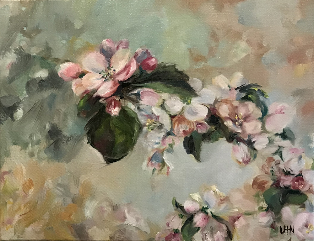 Apple Blossoms - Painting by UTN, apple blossoms close up with a green and pink background