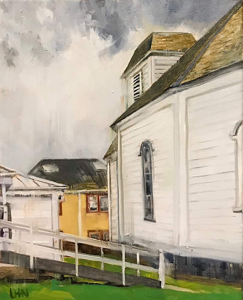 Cottage Grove Museum - Painting by UTN, side view of a hexagonal white building with another two buildings in view