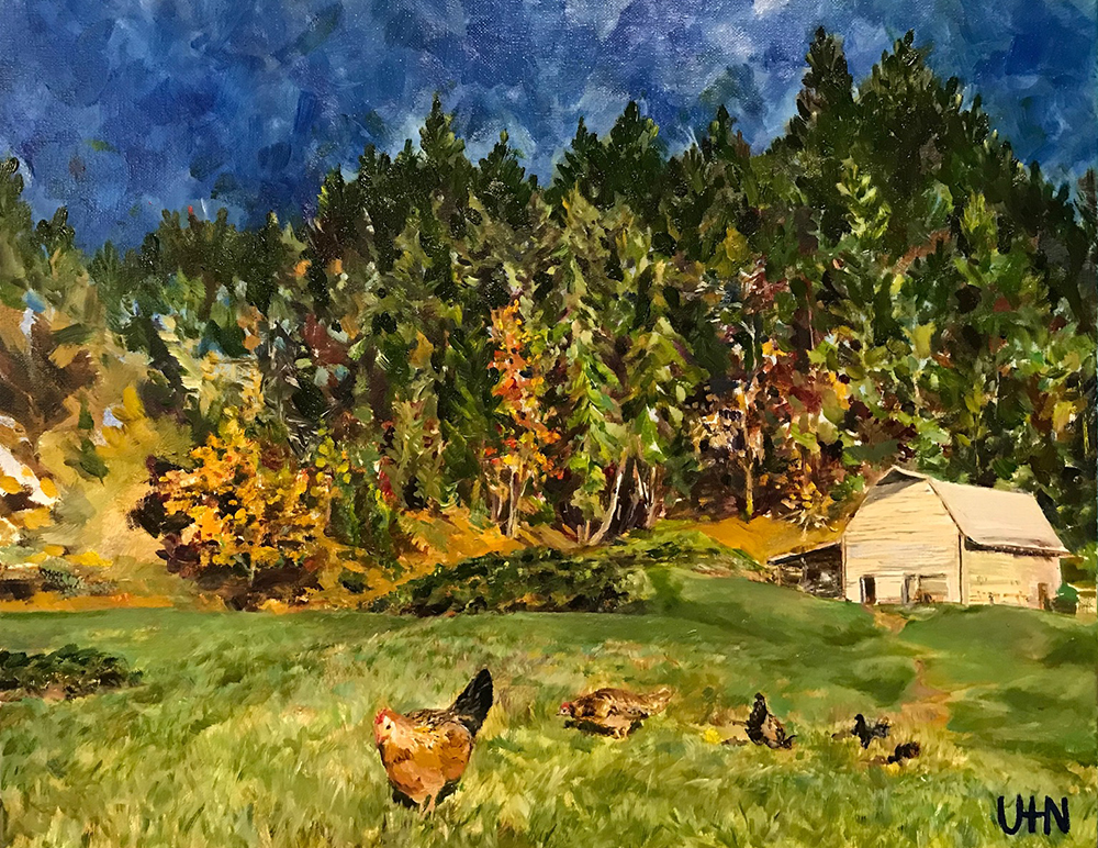 Erika's Farm - Painting by UTN, grass pastures, white farmhouse, chickens in the foreground and evergreen trees on a hill in the background against a vivid blue sky