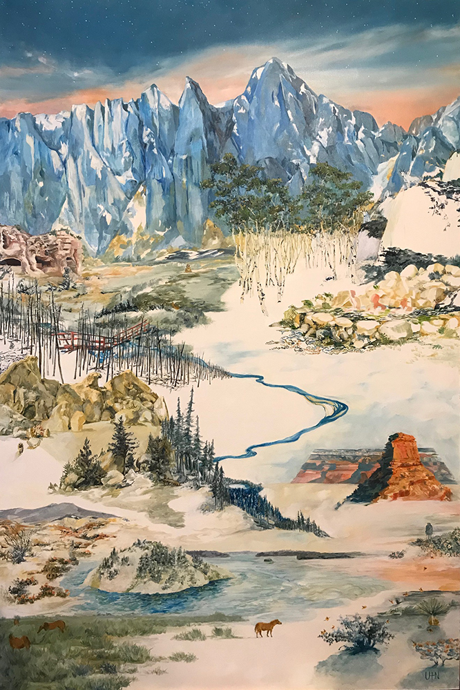 Kevin's Journey - Painting by UTN, a landscape meandering through different terrain traveling up a river and ending at the mountaintops and an evening sky