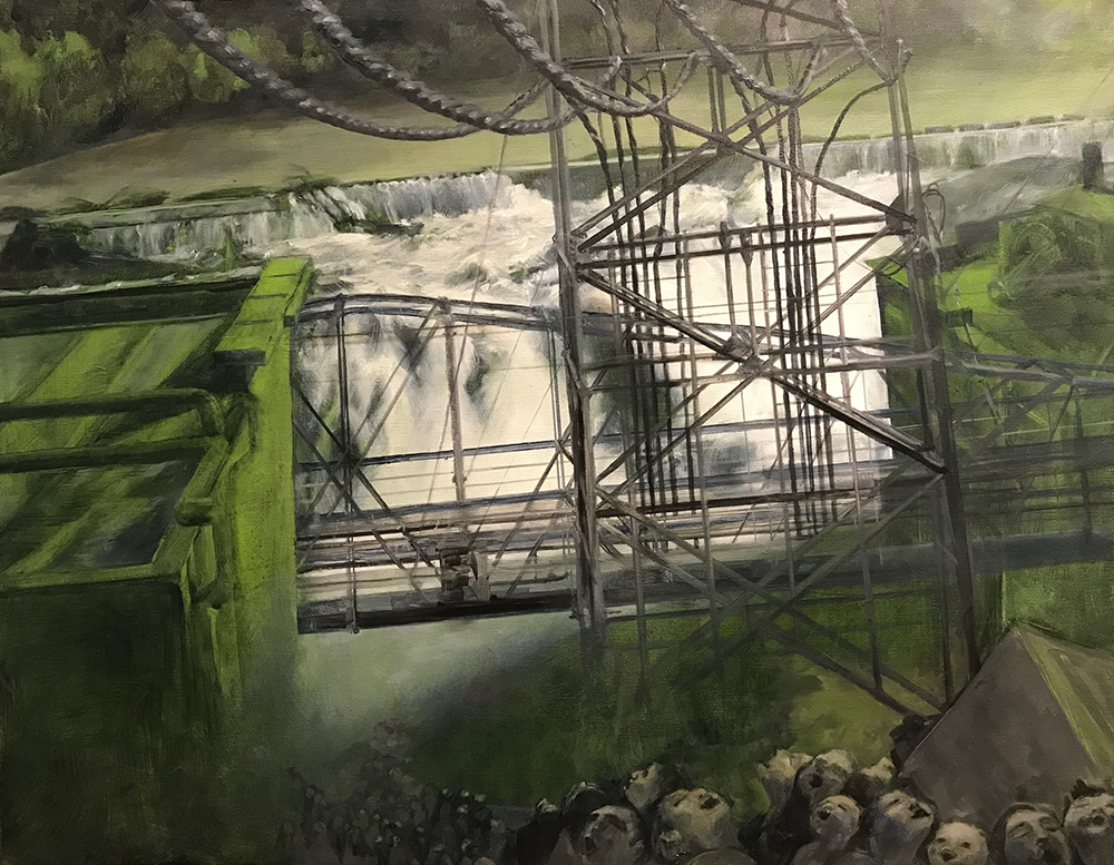Oregon City Hydroelectric Dam - Painting by UTN, big waterfall with electric lines in the foreground