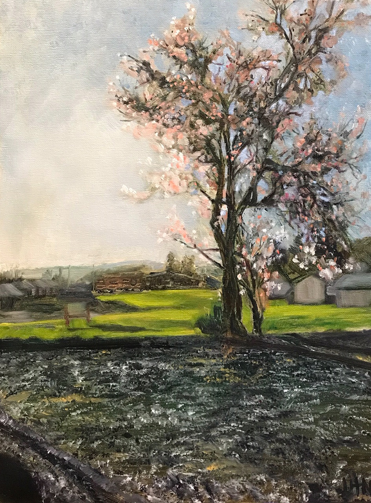 Pink Blossom Tree - Painting by UTN, a tree with pink spring blossoms at sunset