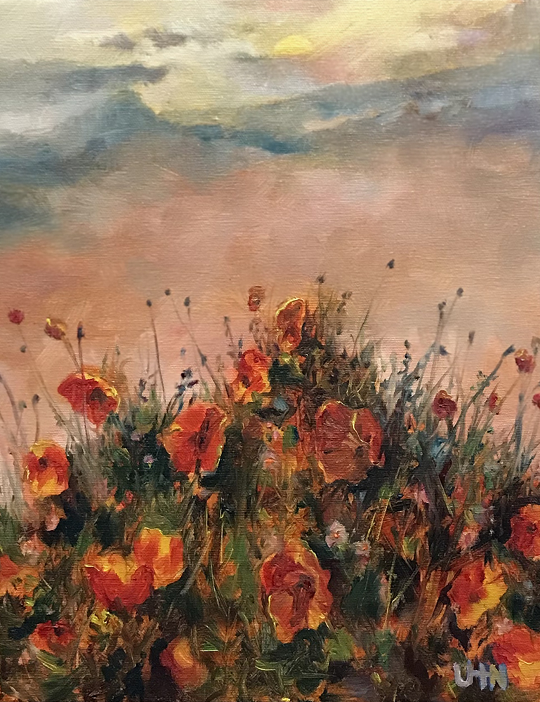 Poppies - Painting by UTN, red poppy flowers on a hill at sunset