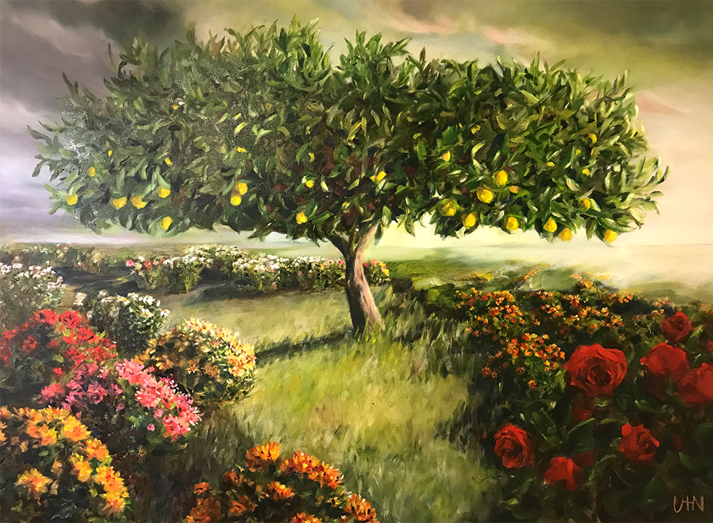 The Family Tree - Painting by UTN, a large meyer lemon tree surrounded by colorful floral bushes and plants at sunrise